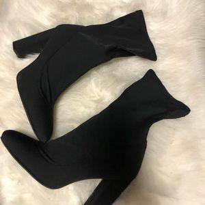 Hayden Block Heel Sock In Black Lycra